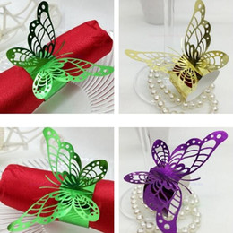 Wholesale Butterfly Design Paper - Butterfly Napkin Ring Exquisite Hollow Out Design Napkins Holder Double Faced Pearlescent Paper Wedding Supplies Romantic 0 35rs B