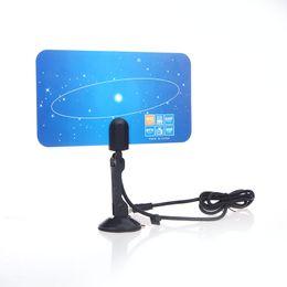 Wholesale Wholesale Digital Antenna - Digital Indoor TV Antenna HDTV DTV HD VHF UHF Flat Design High Gain US EU Plug New Arrival TV Antenna Receiver V560
