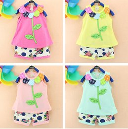 Wholesale Pale Pink Flower - 2016 baby outfits Pure cotton flower leaves vest+colorful shorts 2pcs baby girls clothes set summer babies outfit Camouflage girl's fashion
