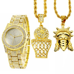 Wholesale Cubic Zirconia Watches - Luxury Hip Hop Iced Out Lab Cubic Zirconia Watch & Basketball Sports Statue of Liberty 2 Necklace Pendant Combo Set