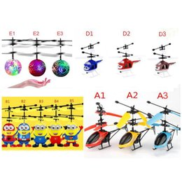Wholesale Rc Brushless Motors - Led toy RC Helicopter Flying Induction LED Noctilucent Ball Quadcopter Drone Sensor Up grade infrared Induction flying Children Toys 20PCS