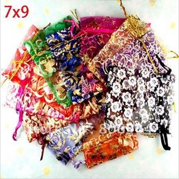 Wholesale Organza 3x4 - 25x Random Mixed Bronzing Drawable Organza Jewelry Wedding Gift Pouch Bags 7x9cm 3X4 Inch Mix Color 4Q104