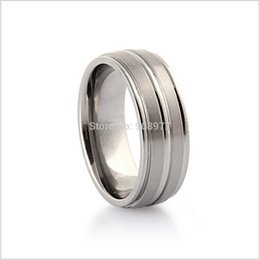 Wholesale Flat Abalone - Hot sale 8mm Titanum Ring Two Grooved & Brushed Center Flat Top High Polished Edge Mens romantic Engagement Wedding Band