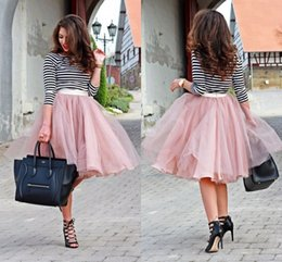 Wholesale Yellow Tutus For Women - Dusty Pink Chiffon&Tulle Piping Skirts Cheap Custom Made Short Street Fashion Ruched Spring Skirt for Women Tutu Skirt Party Ball Gown