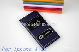 Wholesale Iphone4s Flip - Wholesale-Free shipping For Apple iPhone 4 4s iPhone4 iPhone4s View ULTRA THIN Leather Flip window Case Cover Cases