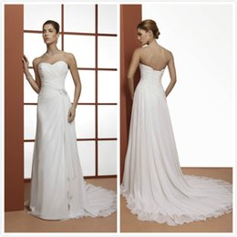Wholesale Sheath Wedding Dresses Rhinestones - 2016 Sweetheart Sheath Wedding Dresses with Pleats and Rhinestone Court Train Beaded Bridal Dresses Lace-up Back Chiffon Wedding Gowns