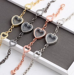 Wholesale heart locket bracelets - 10PCS lot Magnetic Heart Floating Locket Bracelet With Rhinestones Glass Living Memory Locket Bangles For Women