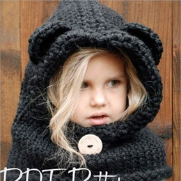Wholesale Crocheted Bear - Wool Knitting Cloak Caps Cute Bear Shape Crochet Braid Beanie For Boys And Girls Hat New Arrival 25za B