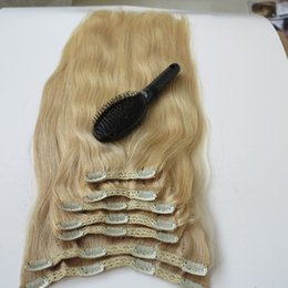 Wholesale Clip One Extensions - 100% Human Hair Clip in Hair Extensions Brazilian Hair Platinum Blonde 22 inch Remy Stright Hair free one Comb
