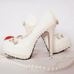 Wholesale Butterfly Prom Shoes - 2016 Wedding Shoes White Lace With Pearl Beautiful Butterfly Middl Heel 5cm 8cm Party Prom Pumps Plus Size 43 Bridesmaid Shoes