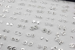 Wholesale Cross Earrings Free Shipping - Free Shipping Wholesale Jewelry 100pairs Mixed Styles Flower Cross Animal Shiny Silver Plated Stud Earrings ME147