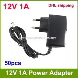 Wholesale Converter Adapter Dc 12v 1a - High Quality AC 100V-240V Converter Adapter DC 12V 1A Power Supply Adapter EU Plug DC 5.5mm x 2.1mm 50pcs DHL shipping