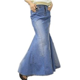 Wholesale Tail Skirts - Free Shipping 2016 S-XL New Fashion Long Maxi Denim Blue Skirts For Women Floor length Mermaid Fish Tail Jeans Skirts With Slit