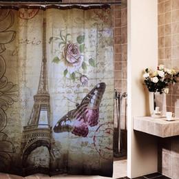 Wholesale Retro Fabric Curtains - 180cm x 180 cm Retro Eiffel Tower & Butterfly Shower Curtain Bathroom Waterproof Fabric Curtain