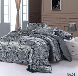 Wholesale Satin Wholesale Sheet Sets - 7pcs Silver grey paisley Silk satin bedding sets California king quilt duvet cover bedsheet fitted sheets bed in a bag queen size bedroom