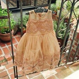 Wholesale Crochet Childrens Clothes - 2016 girls childrens summer dresses baby fashion lace tulle princess kids lace Crocheted vest dress children party dress clothes clothing