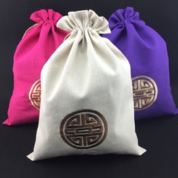 Wholesale Cotton Drawstring Shoe Bags - Embroidery joyous Cotton Linen Drawstring Shoe Bags Storage for Travel Protective Covers Chinese Ethnic style Gift Candy Tea Packaging Pouch
