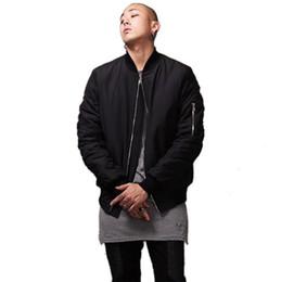 Wholesale L Style Flights - Fashion Military Style Mens Black Bomber Jacket Hi-Street Flight Jacket Slim Fit Hip Hop Varsity Letterman Jacket For Man
