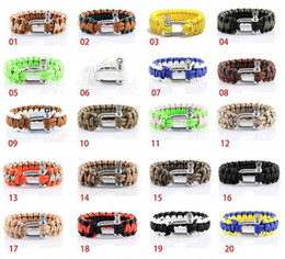 Wholesale Survival Bracelet U Clasp - Survival Bracelets Paracord Parachute Hiking Bracelet Stainless Steel U Clasp Unisex Escape Bracelet Handmade wristband Outdoor Gear 1736