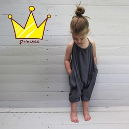 Wholesale christmas jumpsuits - Girls Kids Onesies Rompers Jumpsuits Overalls for Children Baby Cotton Backless Rompers Jumpsuits One Piece Grey Suspender Overalls Clothes
