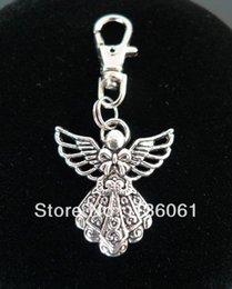 Wholesale Lobster Clasp For Key Chains - Vintage Silver ANGEL WITH WINGS BOWKNOT BLESSING Lobster Swivel Clasp Key Ring For Keys Cat DIY Bag Key Chain Gift 100PCS P306