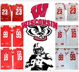 Wholesale Russell Football Jersey - 2018 NEW COMING Wisconsin Badgers NCAA Jersey 23 TAYLOR 16 Russell Wilson 99 J.J Watt GIFT PRESENT College jerseys Hot sale