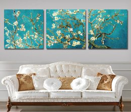 Wholesale Modern Canvas Art Flower Painting - Wall Painting 3 Pcs Wall Pictures Modern Van Gogh Tree Home Decor Flower Painting Canvas Art Picture Paint On Canvas(No Frame)