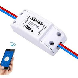 Wholesale Wireless Light Switches - 2017 New 1CH Sonoff Wifi Switch Relay Module AC 90V-250V 220V Wireless Light Timer Switch For Smart Home Automation