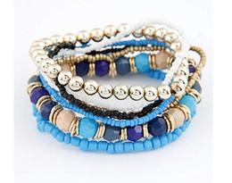 Wholesale Korean Women Beaded Bracelets - 2015 Hot Korean Designer Fashion Bohemia Beads Bracelet Beaded Multilayer Strand Stretch Bracelets Bangles For women Girl