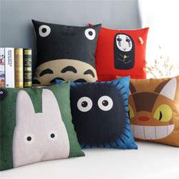 Wholesale Totoro Square Cushion - Hayao Miyazaki Totoro Pattern Cushion Covers Japanese Cat Style Home Decorative Cushion Cover Linen Cotton Pillow Case For Car Sofa Couch