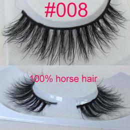 Wholesale Band Horses - 3D Horse Hair Eyelashes natural style horse hair lashes makeup soft band Handmade Real Luxurious Natural Horse Hair Soft Eye Lashe 008