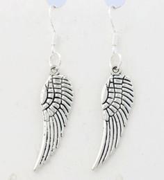 Wholesale Unisex Earrings - Angel Wing Earrings 925 Silver Fish Ear Hook 40pairs lot Antique Silver Chandelier E084 46.5x9.2mm