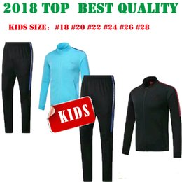 Wholesale White Child Suits - 2017 TOP MESSI Kids Jacket Tracksuit Training red and Long pant 17 18 SUAREZ blue Survetement O.DEMBELE CHILD track suits training suit