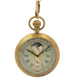Wholesale Moon Watch Design - Tourbillon Pocket Watch New Design Luxury Brand Fashion moon phase watch Hand Wind Up Mechanical Pocket Watch With Cowboy Chain