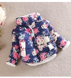 Wholesale Warm Winter Jackets Children - Baby winter cotton-padded clothes children quilted jacket girls fluffy coat flowers with thick warm cotton-padded jacket BH1155