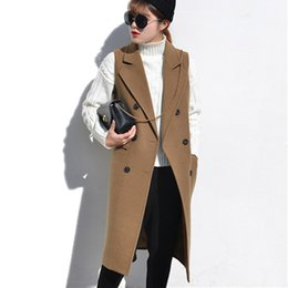 Wholesale Bow Wool Coat - High Quality Elegant Spring Women's Vest Slim Long Female Vests Winter Wool Sleeveless Coat Jacket Long Waistcoat Cardigans