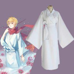 Wholesale Men S Kimonos - Anime Noragami Yukine Cosplay Costume White Kimono Yukata ( Clothes + Belt ) Party Clothes Size S-XL