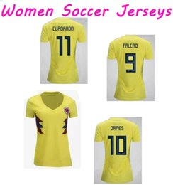 Wholesale Shirts Mujer - Thai Quallity Camisetas de Futbol Lady World Cup 2018 Mujer Colombia Women soccer jerseys 2018 FALCAO JAMES Girl football T shirt