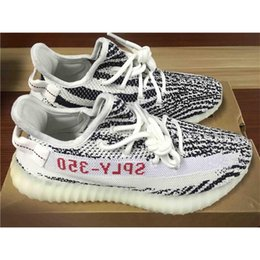 Wholesale Cheap Girls Summer Shoes - (with Box) SPLY 350 Boost V2 Zebra Copper Green Bred Boost 350 Running Shoes Grey Orange Sneakers for Girls Size 13 350V2 Cheap
