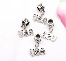 wholesale beads usa Coupons - Hot ! 200pcs New Antiqued Silver Single-sided USA Charm Dangle Bead Fit Charm Bracelet 23 x16mm