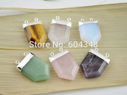 Wholesale tiger charms wholesale - NEW!6Pcs Druzy Quartz   Agate   Tiger Eye Connector Beads & Pendant, Silver Plated Edge Pendant in Mixed color, Gem stone Pendant