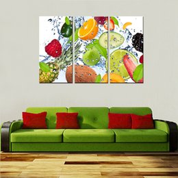 Wholesale Framed Paintings Fruit - 3 Picture Combination Fruits Wall Art Painting Pictures Print On Canvas Food The Picture For Home Modern Decora