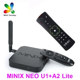 Wholesale Wifi 5ghz - Original MINIX NEO U1+NEO A2 lite air mouse Android TV Box Amlogic S905 Quad Core 2G 16G 802.11ac 2.4 5GHz WiFi H.265 HEVC 4K HD XMC IPTV