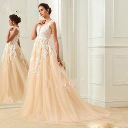 Wholesale Online Vintage Wedding Dresses - Online Lace Applique Champagne Wedding Dress Illusion Back High Sheer Jewel Neck A Line Bride Gown Custom Made Plus Size Wedding Dreses 2018