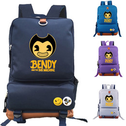 Wholesale Character Notebook - Bendy And The Ink Machine Canvas School Bag Game Cartoon Backpack Student School Bag Notebook Backpack Daily Backpack
