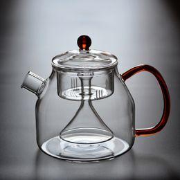 Wholesale Steamed Pot - 1200ml Handmade Heat Resistant Glass Tea bottle with fliter Herd tea pot steam Kettle for cooking coffee