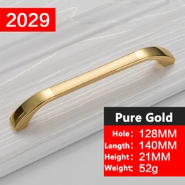 Wholesale Knob Cabinet Gold - Wholesale Concise Morden Gold Handles Cabinet Hardware Kitchen Cupboard Cabinet Handles Wardrobe Knobs Drawer Pull drawer handles YJ2029