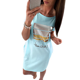 Wholesale Kawaii Mini Dress - Wholesale- Mini Sundress Kawaii Letter Print Dress 2017 Summer Women Short Sleeve Sexy Party Dresses Casual Female Beach Vestidos GV801