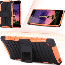 Wholesale Hybrid Case Xperia Z - Heavy Duty Shock Proof Back Case For Sony Xperia Z3 Kick-stand Armor 2 in 1 Impact Rugged Hybrid Cellphone Cover For Xperia Z 3