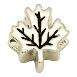 Wholesale leaf shaped beads - Rhodium Silver Plated Large Hole Maple Leaf Shaped European Charm Spacer Metal Bead Fit Pandora Bracelet